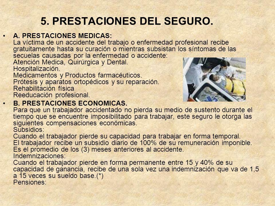 5. PRESTACIONES DEL SEGURO. A. PRESTACIONES MEDICAS: La víctima de un accidente del trabajo o enfermedad profesional recibe gratuitamente hasta su cur