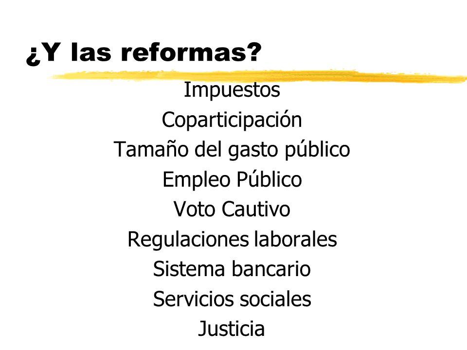 Impuestos Coparticipación Tamaño del gasto público Empleo Público Voto Cautivo Regulaciones laborales Sistema bancario Servicios sociales Justicia