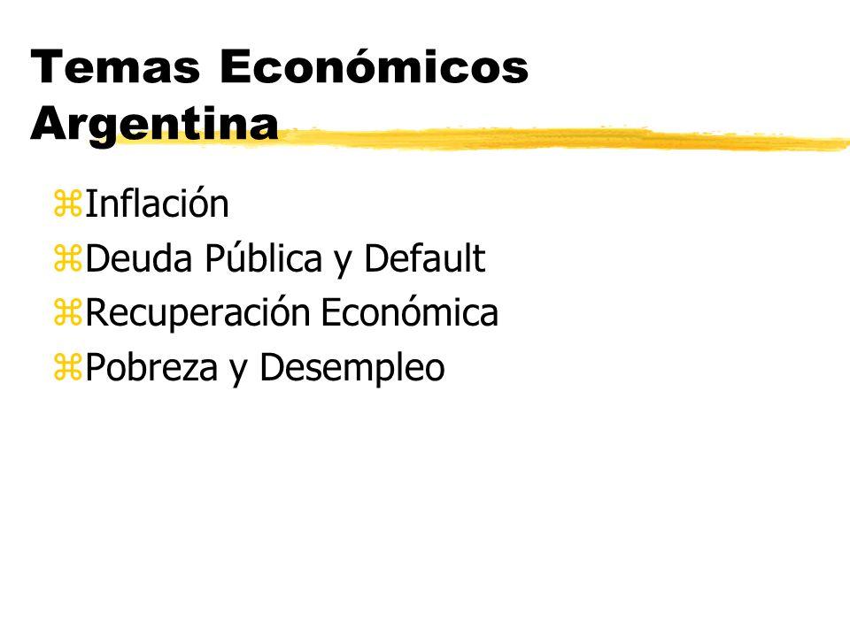 Temas Económicos Argentina zInflación zDeuda Pública y Default zRecuperación Económica zPobreza y Desempleo