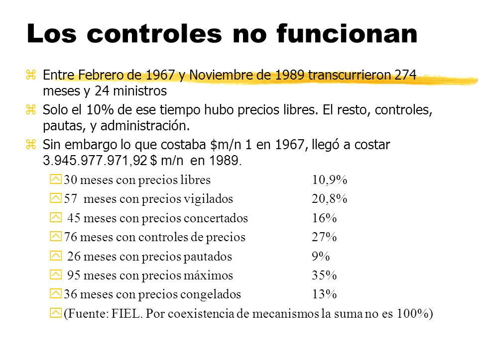 Los controles no funcionan zEntre Febrero de 1967 y Noviembre de 1989 transcurrieron 274 meses y 24 ministros zSolo el 10% de ese tiempo hubo precios libres.