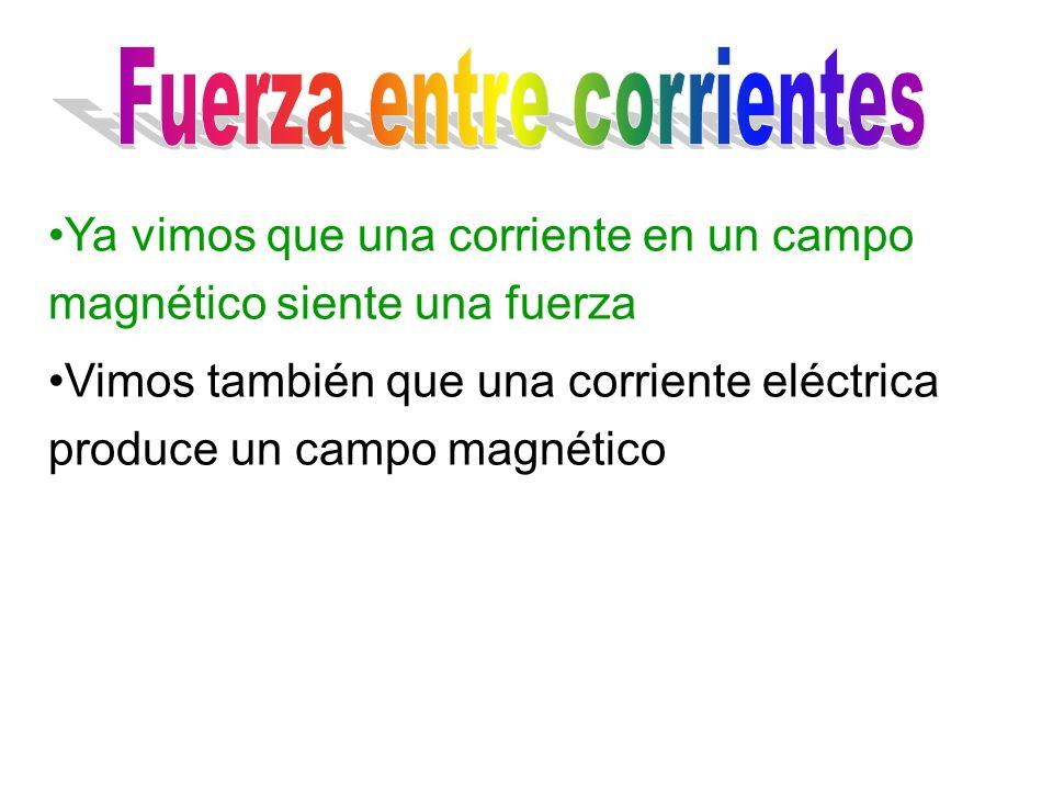 Ya vimos que una corriente en un campo magnético siente una fuerza Vimos también que una corriente eléctrica produce un campo magnético