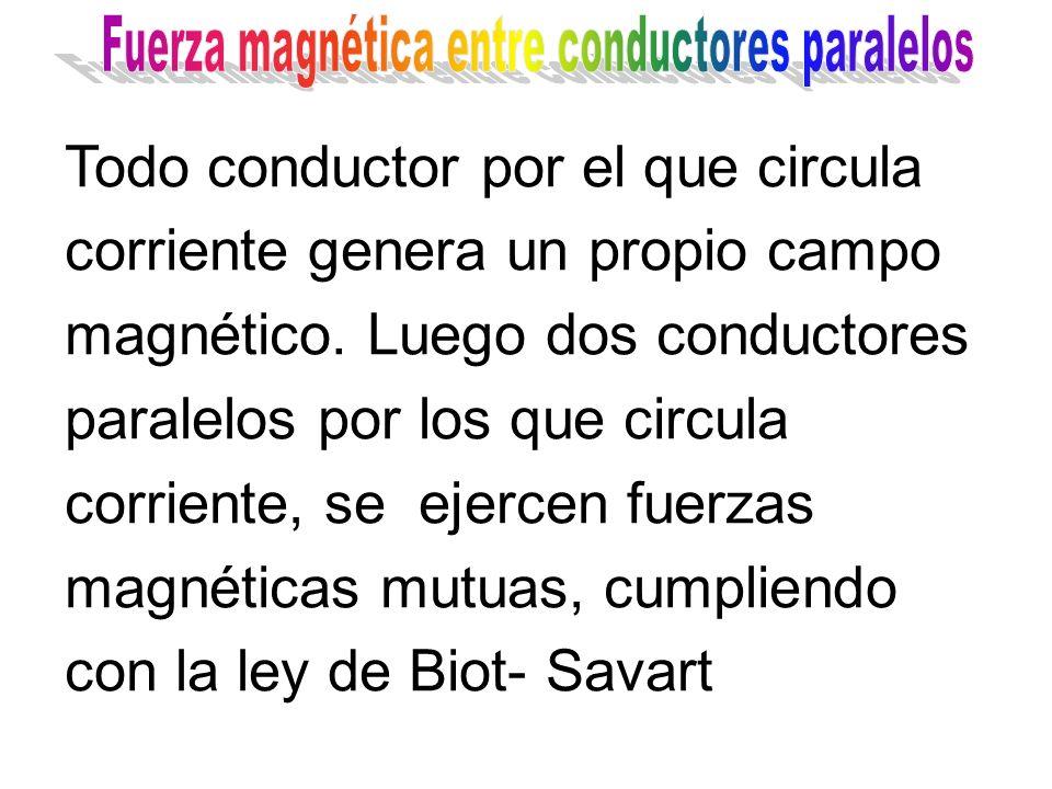 Todo conductor por el que circula corriente genera un propio campo magnético. Luego dos conductores paralelos por los que circula corriente, se ejerce