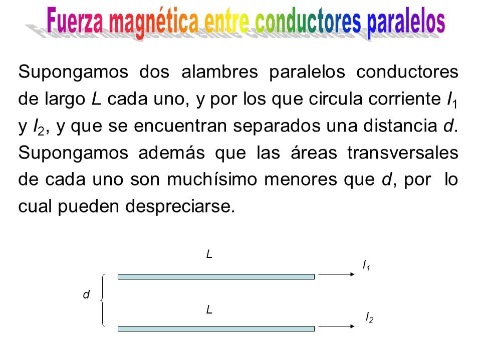 I1I1 I2I2 d L L Supongamos dos alambres paralelos conductores de largo L cada uno, y por los que circula corriente I 1 y I 2, y que se encuentran separados una distancia d.