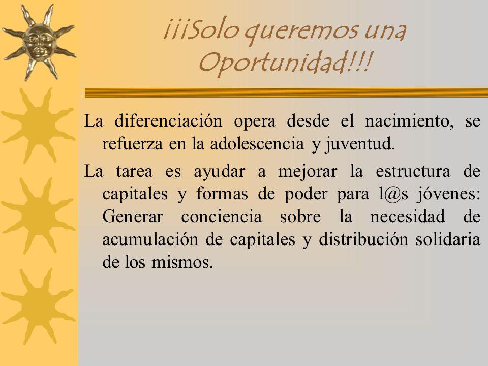 ¡¡¡Solo queremos una Oportunidad!!! La diferenciación opera desde el nacimiento, se refuerza en la adolescencia y juventud. La tarea es ayudar a mejor
