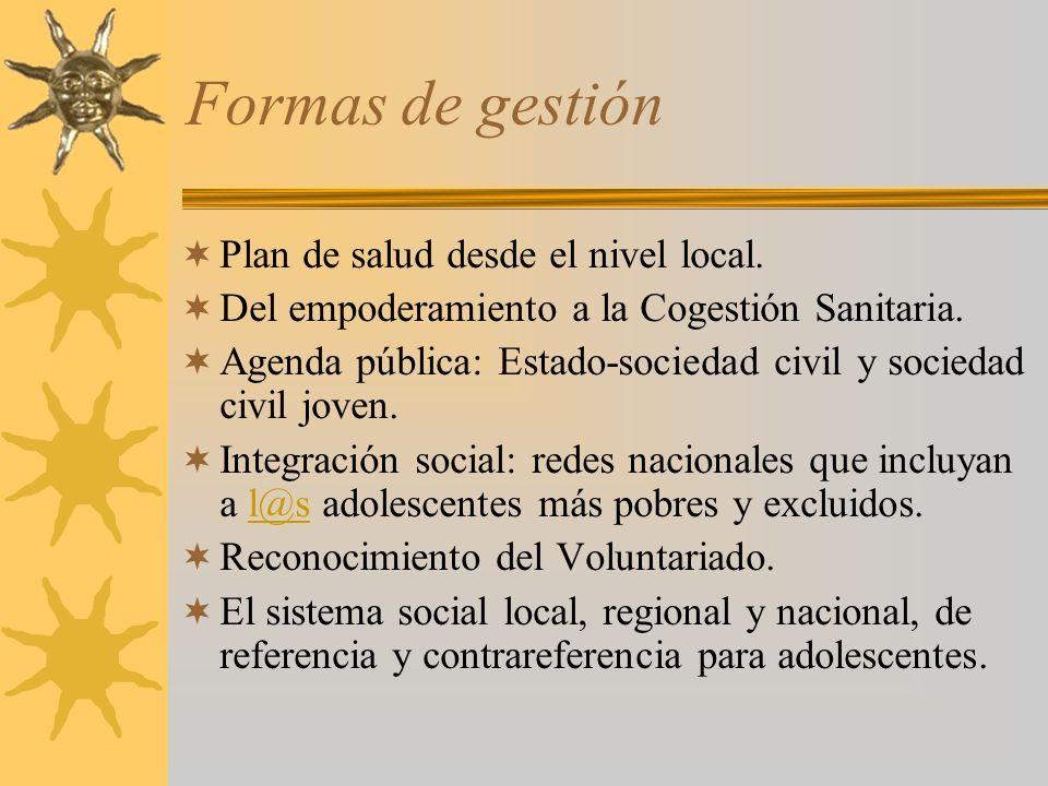 Formas de gestión Plan de salud desde el nivel local. Del empoderamiento a la Cogestión Sanitaria. Agenda pública: Estado-sociedad civil y sociedad ci