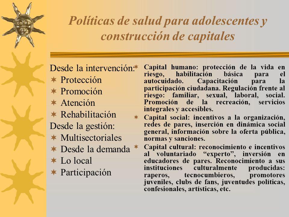 Políticas de salud para adolescentes y construcción de capitales Desde la intervención: Protección Promoción Atención Rehabilitación Desde la gestión: