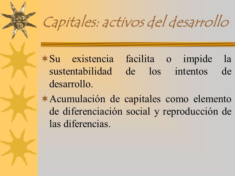 Capitales: activos del desarrollo Su existencia facilita o impide la sustentabilidad de los intentos de desarrollo. Acumulación de capitales como elem
