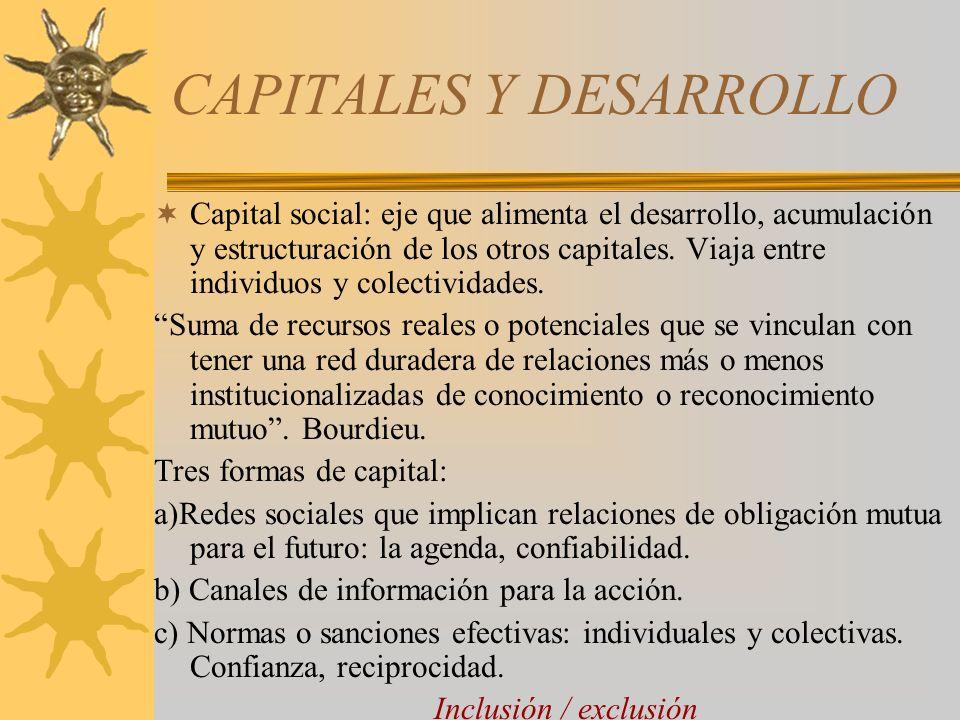 CAPITALES Y DESARROLLO Capital social: eje que alimenta el desarrollo, acumulación y estructuración de los otros capitales. Viaja entre individuos y c