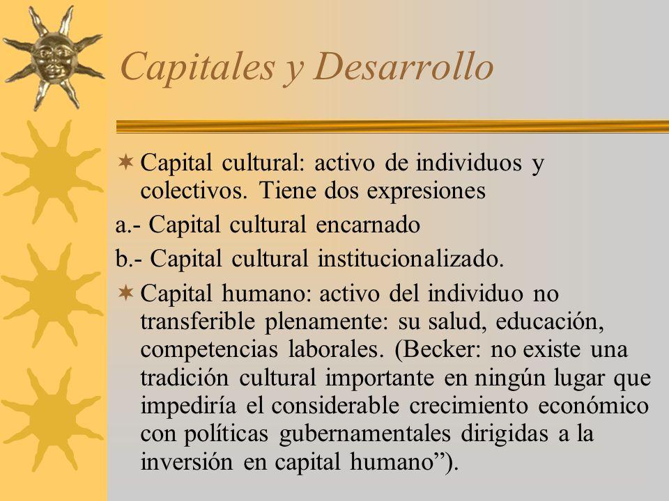 Capitales y Desarrollo Capital cultural: activo de individuos y colectivos. Tiene dos expresiones a.- Capital cultural encarnado b.- Capital cultural