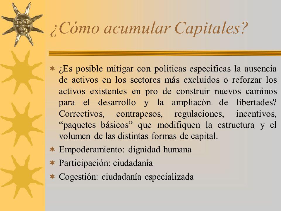 ¿Cómo acumular Capitales? ¿Es posible mitigar con políticas específicas la ausencia de activos en los sectores más excluidos o reforzar los activos ex