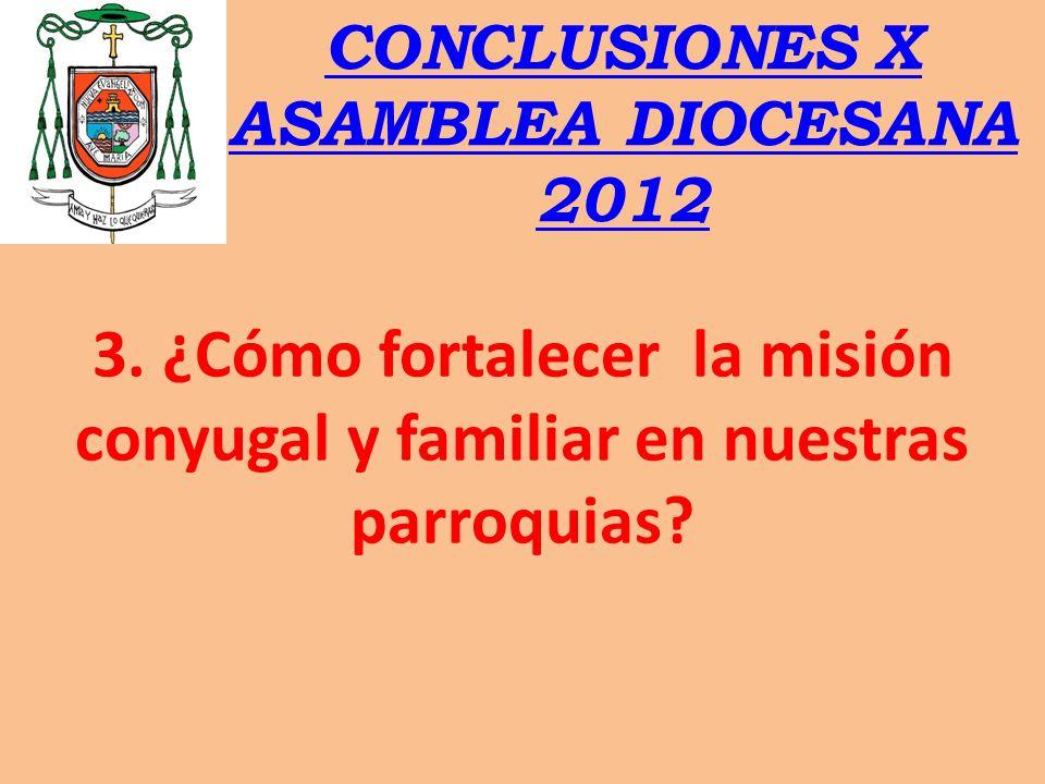 CONCLUSIONES X ASAMBLEA DIOCESANA 2012 3. ¿Cómo fortalecer la misión conyugal y familiar en nuestras parroquias?