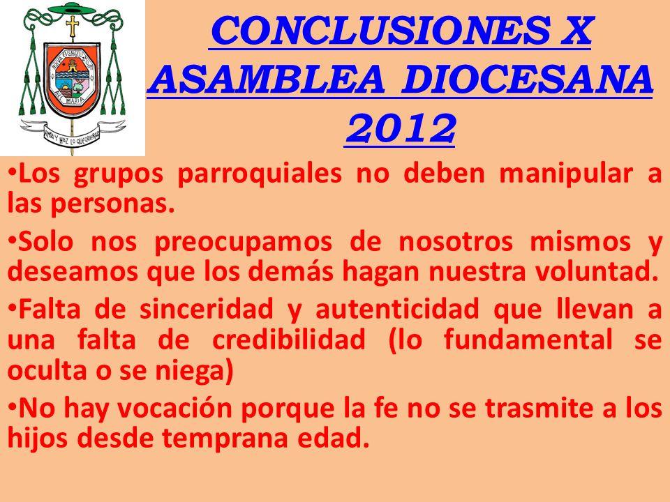 CONCLUSIONES X ASAMBLEA DIOCESANA 2012 Los grupos parroquiales no deben manipular a las personas. Solo nos preocupamos de nosotros mismos y deseamos q