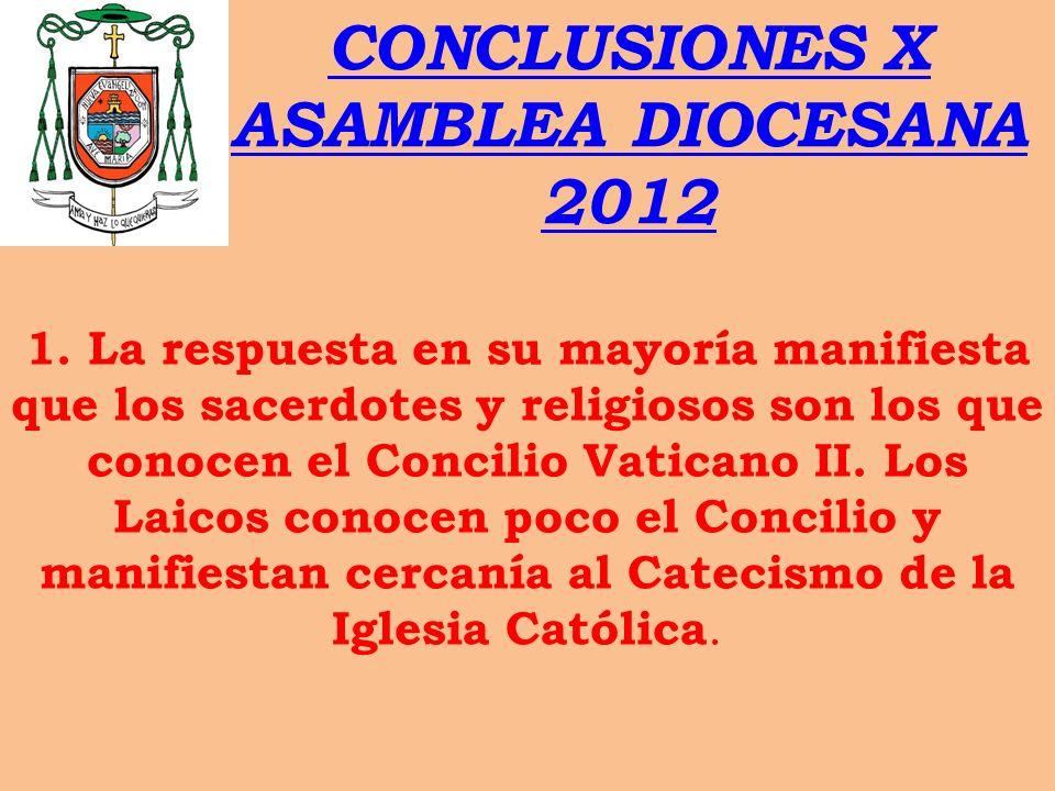 CONCLUSIONES X ASAMBLEA DIOCESANA 2012 1. La respuesta en su mayoría manifiesta que los sacerdotes y religiosos son los que conocen el Concilio Vatica