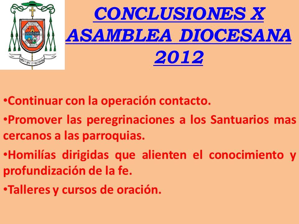 CONCLUSIONES X ASAMBLEA DIOCESANA 2012 Continuar con la operación contacto. Promover las peregrinaciones a los Santuarios mas cercanos a las parroquia