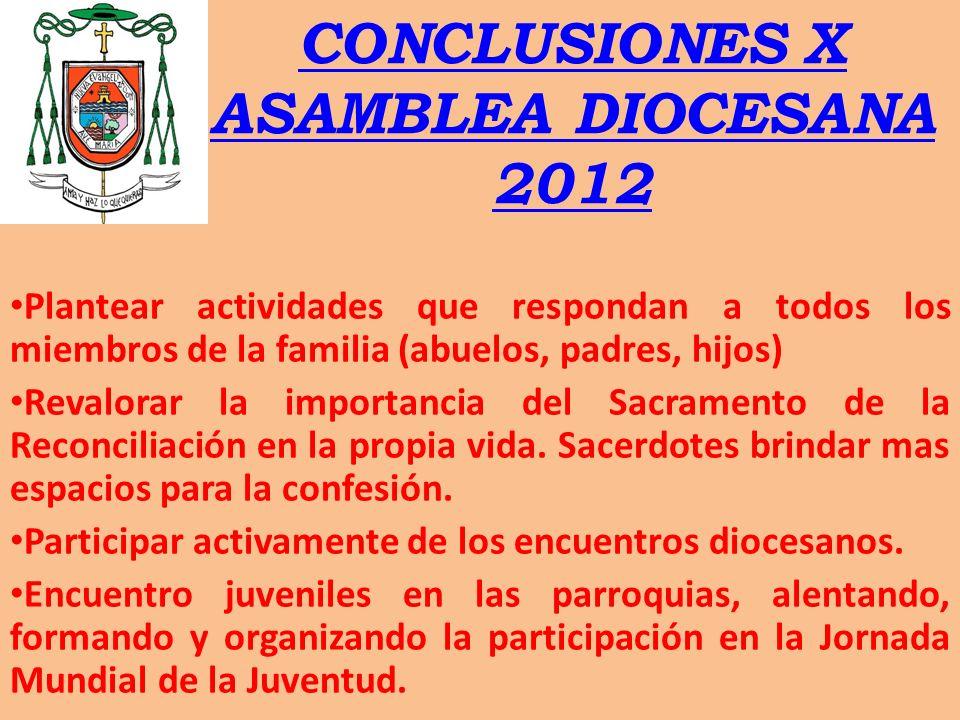 CONCLUSIONES X ASAMBLEA DIOCESANA 2012 Plantear actividades que respondan a todos los miembros de la familia (abuelos, padres, hijos) Revalorar la imp