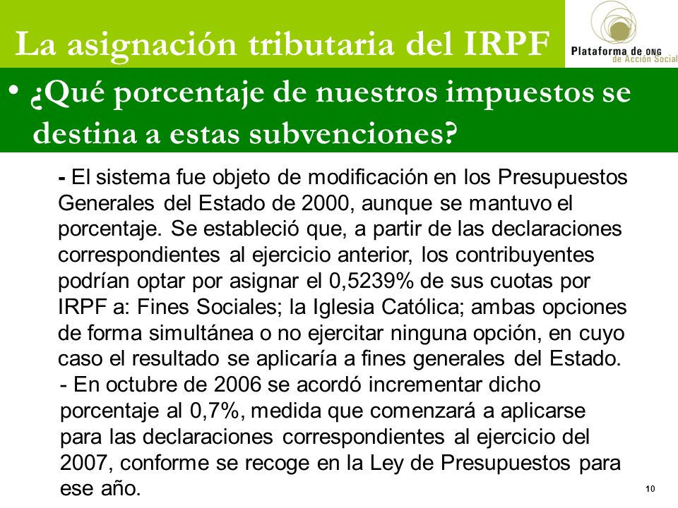 La asignación tributaria del IRPF ¿Qué porcentaje de nuestros impuestos se destina a estas subvenciones.