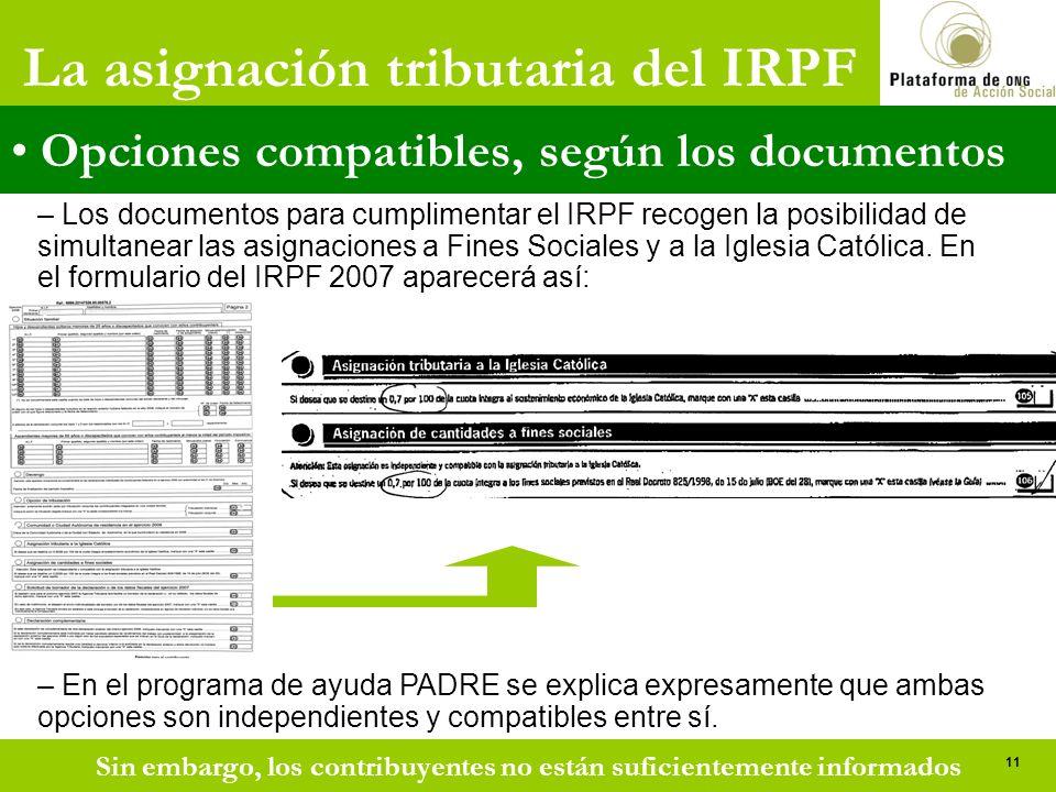 La asignación tributaria del IRPF Opciones compatibles, según los documentos – Los documentos para cumplimentar el IRPF recogen la posibilidad de simultanear las asignaciones a Fines Sociales y a la Iglesia Católica.