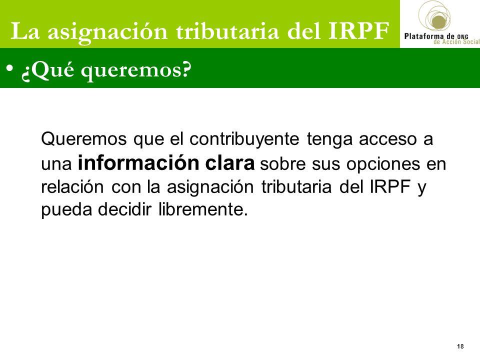 La asignación tributaria del IRPF ¿Qué queremos? Queremos que el contribuyente tenga acceso a una información clara sobre sus opciones en relación con