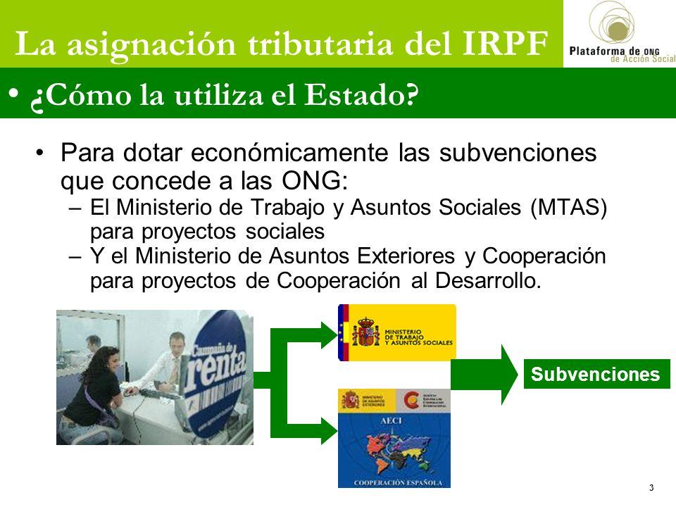 Para dotar económicamente las subvenciones que concede a las ONG: –El Ministerio de Trabajo y Asuntos Sociales (MTAS) para proyectos sociales –Y el Ministerio de Asuntos Exteriores y Cooperación para proyectos de Cooperación al Desarrollo.