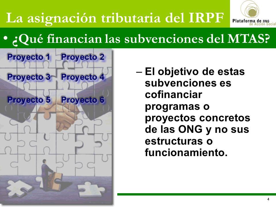 –El objetivo de estas subvenciones es cofinanciar programas o proyectos concretos de las ONG y no sus estructuras o funcionamiento. La asignación trib