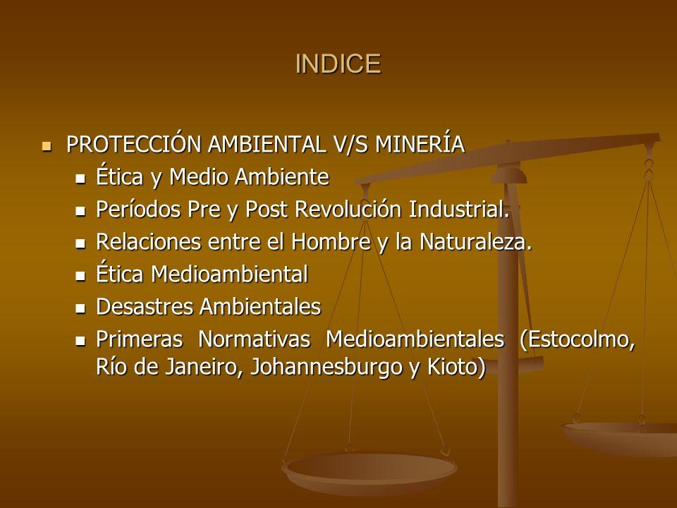 INDICE PROTECCIÓN AMBIENTAL V/S MINERÍA PROTECCIÓN AMBIENTAL V/S MINERÍA Ética y Medio Ambiente Ética y Medio Ambiente Períodos Pre y Post Revolución