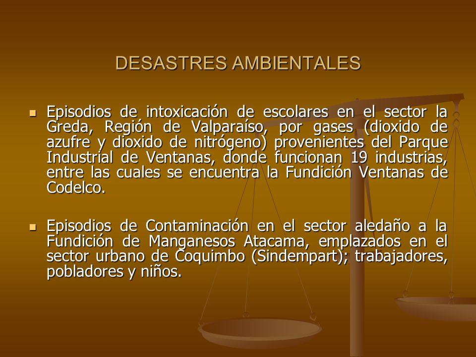 DESASTRES AMBIENTALES Episodios de intoxicación de escolares en el sector la Greda, Región de Valparaíso, por gases (dioxido de azufre y dioxido de ni