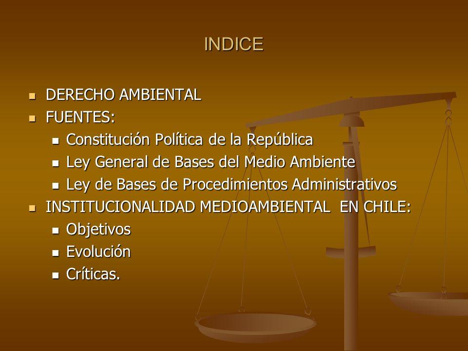 INDICE DERECHO AMBIENTAL DERECHO AMBIENTAL FUENTES: FUENTES: Constitución Política de la República Constitución Política de la República Ley General d