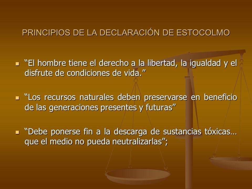 PRINCIPIOS DE LA DECLARACIÓN DE ESTOCOLMO El hombre tiene el derecho a la libertad, la igualdad y el disfrute de condiciones de vida. El hombre tiene