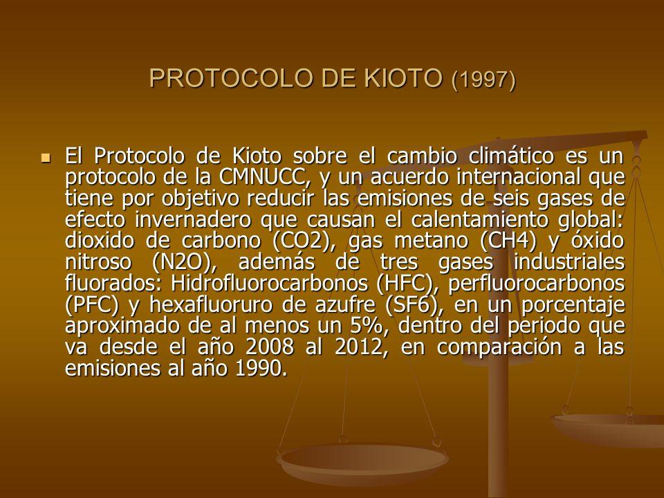 PROTOCOLO DE KIOTO (1997) El Protocolo de Kioto sobre el cambio climático es un protocolo de la CMNUCC, y un acuerdo internacional que tiene por objet