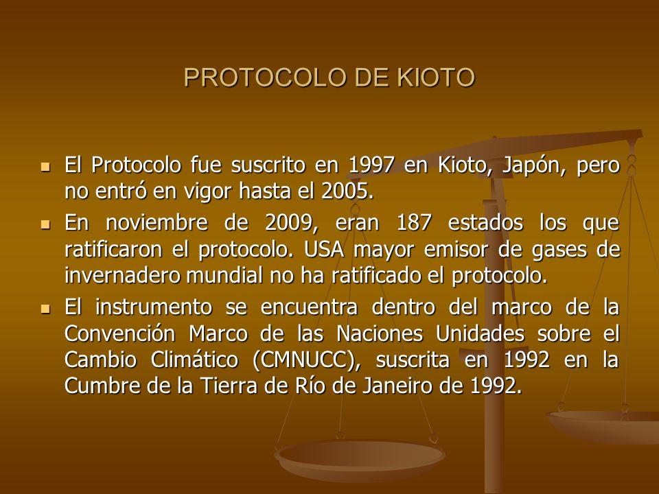 PROTOCOLO DE KIOTO El Protocolo fue suscrito en 1997 en Kioto, Japón, pero no entró en vigor hasta el 2005. El Protocolo fue suscrito en 1997 en Kioto