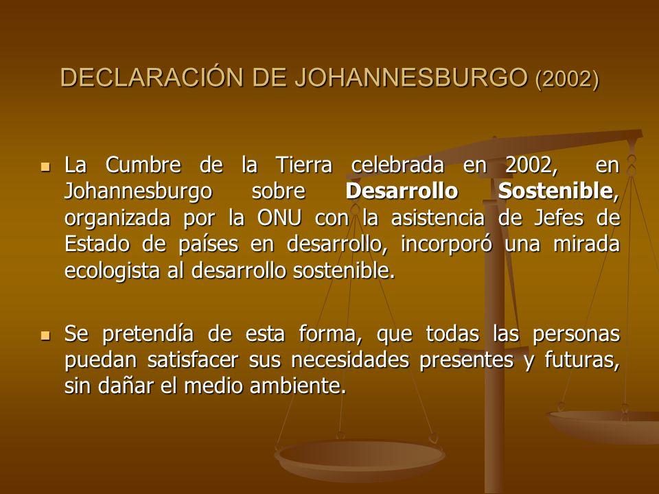DECLARACIÓN DE JOHANNESBURGO (2002) La Cumbre de la Tierra celebrada en 2002, en Johannesburgo sobre Desarrollo Sostenible, organizada por la ONU con