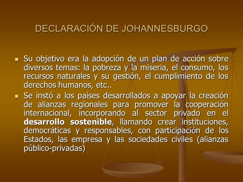 DECLARACIÓN DE JOHANNESBURGO Su objetivo era la adopción de un plan de acción sobre diversos temas: la pobreza y la miseria, el consumo, los recursos