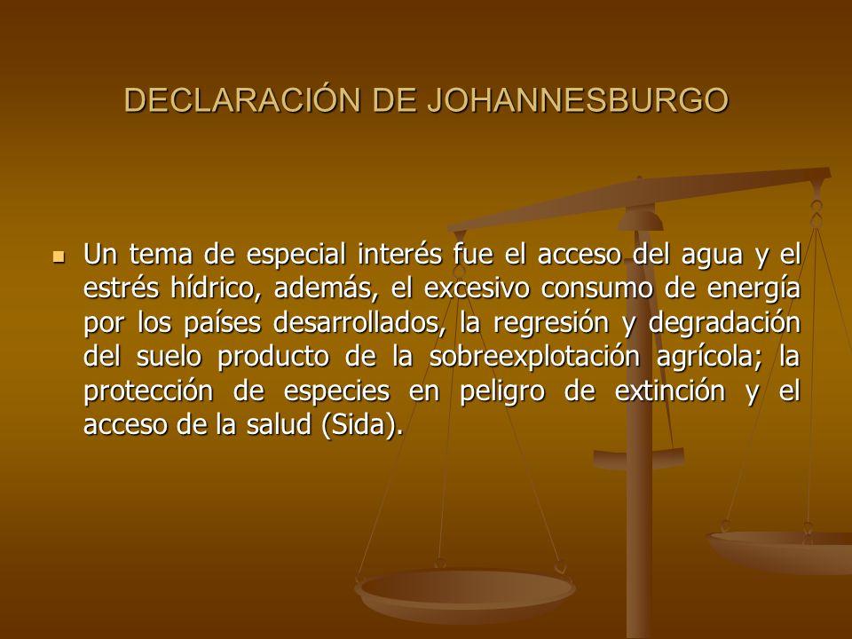DECLARACIÓN DE JOHANNESBURGO Un tema de especial interés fue el acceso del agua y el estrés hídrico, además, el excesivo consumo de energía por los pa