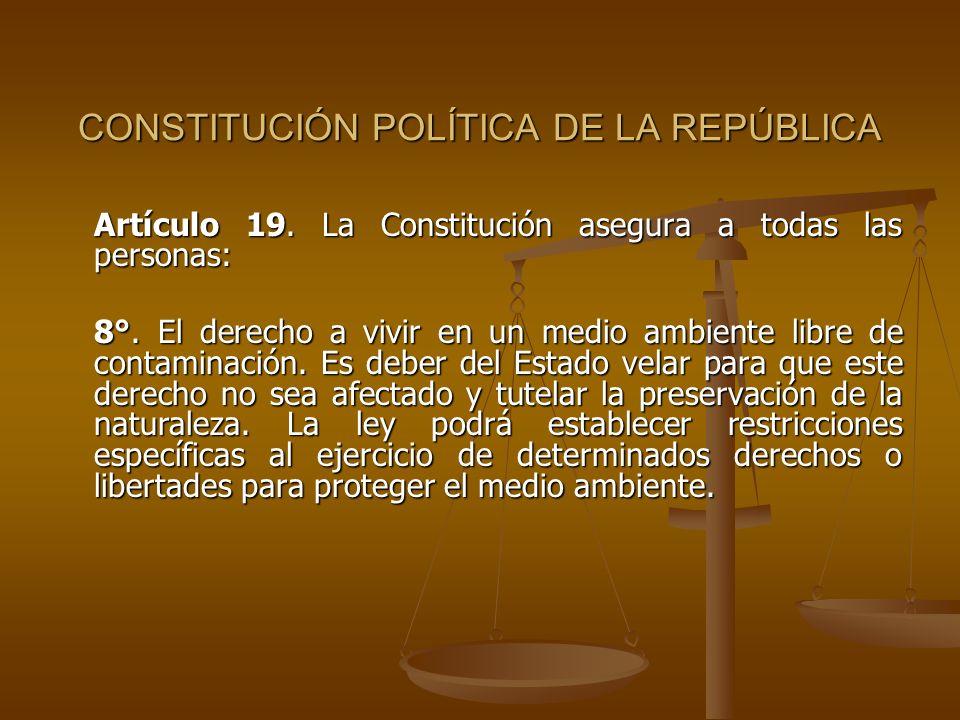 CONSTITUCIÓN POLÍTICA DE LA REPÚBLICA Artículo 19. La Constitución asegura a todas las personas: 8°. El derecho a vivir en un medio ambiente libre de