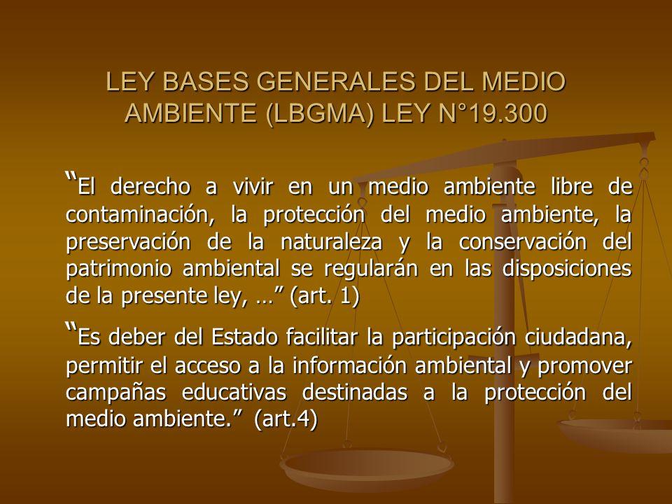 LEY BASES GENERALES DEL MEDIO AMBIENTE (LBGMA) LEY N°19.300 El derecho a vivir en un medio ambiente libre de contaminación, la protección del medio am