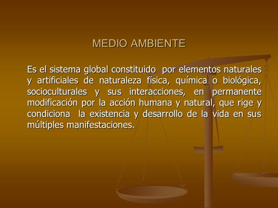 MEDIO AMBIENTE Es el sistema global constituido por elementos naturales y artificiales de naturaleza física, química o biológica, socioculturales y su