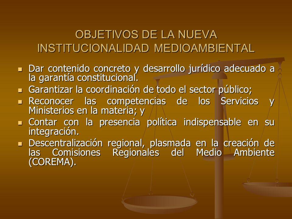 OBJETIVOS DE LA NUEVA INSTITUCIONALIDAD MEDIOAMBIENTAL Dar contenido concreto y desarrollo jurídico adecuado a la garantía constitucional. Dar conteni