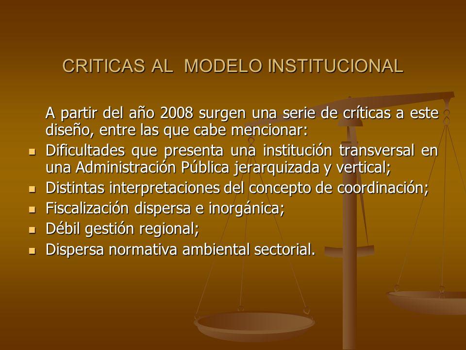 CRITICAS AL MODELO INSTITUCIONAL A partir del año 2008 surgen una serie de críticas a este diseño, entre las que cabe mencionar: Dificultades que pres
