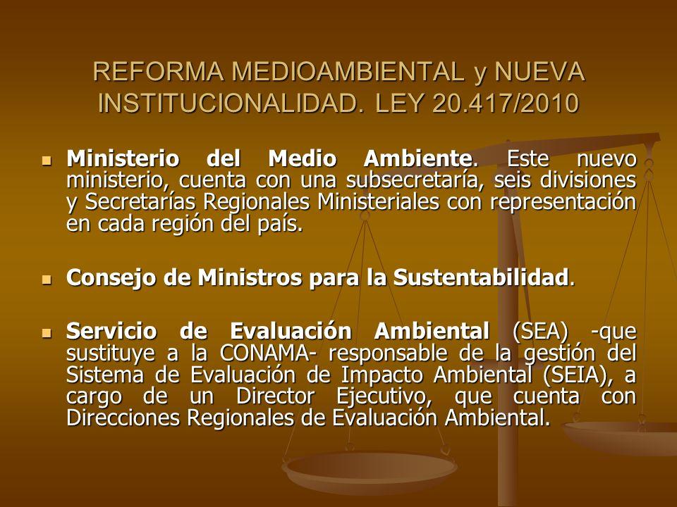 REFORMA MEDIOAMBIENTAL y NUEVA INSTITUCIONALIDAD. LEY 20.417/2010 Ministerio del Medio Ambiente. Este nuevo ministerio, cuenta con una subsecretaría,