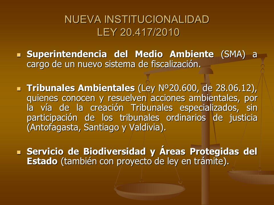NUEVA INSTITUCIONALIDAD LEY 20.417/2010 Superintendencia del Medio Ambiente (SMA) a cargo de un nuevo sistema de fiscalización. Superintendencia del M