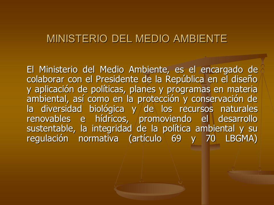 MINISTERIO DEL MEDIO AMBIENTE El Ministerio del Medio Ambiente, es el encargado de colaborar con el Presidente de la República en el diseño y aplicaci