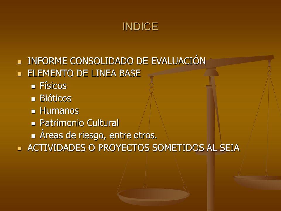 INDICE INFORME CONSOLIDADO DE EVALUACIÓN INFORME CONSOLIDADO DE EVALUACIÓN ELEMENTO DE LINEA BASE ELEMENTO DE LINEA BASE Físicos Físicos Bióticos Biót