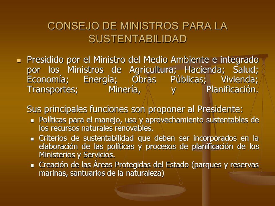 CONSEJO DE MINISTROS PARA LA SUSTENTABILIDAD Presidido por el Ministro del Medio Ambiente e integrado por los Ministros de Agricultura; Hacienda; Salu