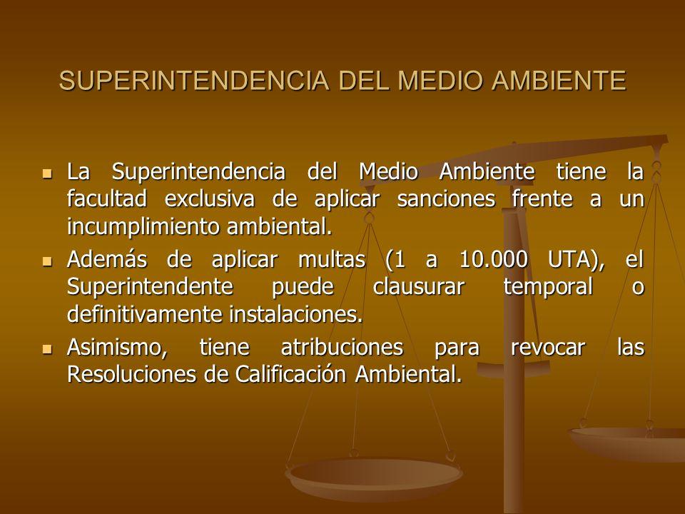 SUPERINTENDENCIA DEL MEDIO AMBIENTE La Superintendencia del Medio Ambiente tiene la facultad exclusiva de aplicar sanciones frente a un incumplimiento
