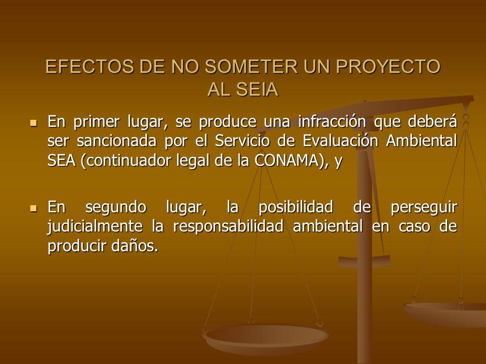 EFECTOS DE NO SOMETER UN PROYECTO AL SEIA En primer lugar, se produce una infracción que deberá ser sancionada por el Servicio de Evaluación Ambiental