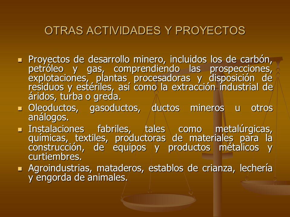 OTRAS ACTIVIDADES Y PROYECTOS Proyectos de desarrollo minero, incluidos los de carbón, petróleo y gas, comprendiendo las prospecciones, explotaciones,