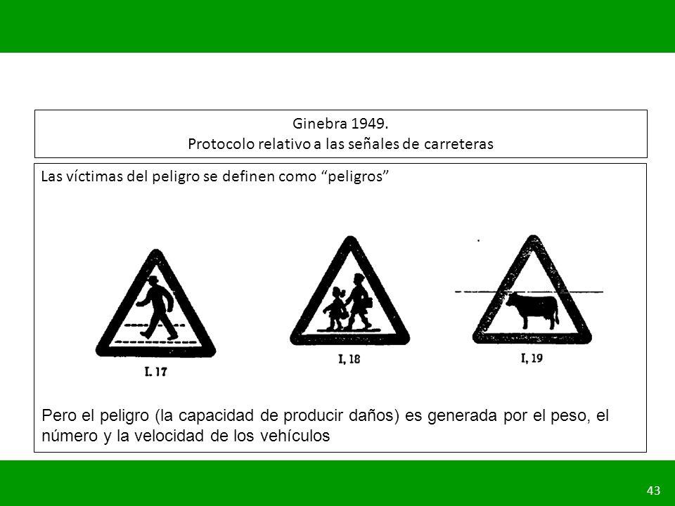 PLANIFICACIÓN DE LA SEGURIDAD VIAL URBANA 43 Ginebra 1949. Protocolo relativo a las señales de carreteras Las víctimas del peligro se definen como pel