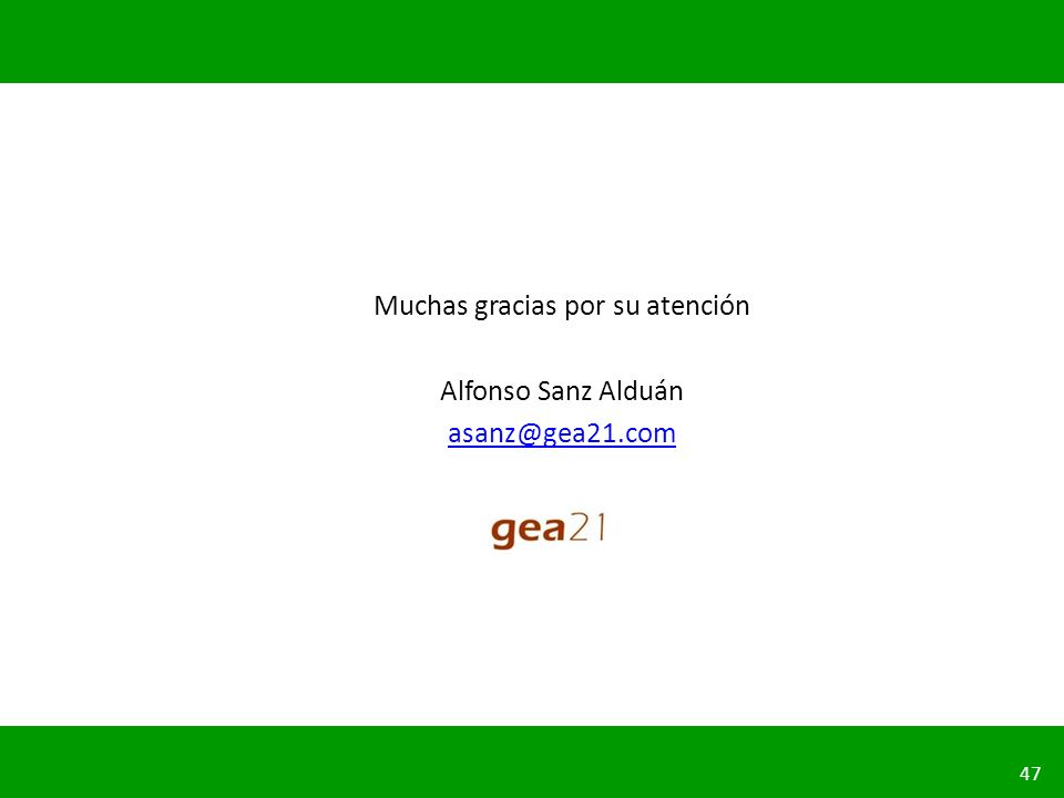 PLANIFICACIÓN DE LA SEGURIDAD VIAL URBANA 47 Muchas gracias por su atención Alfonso Sanz Alduán asanz@gea21.com