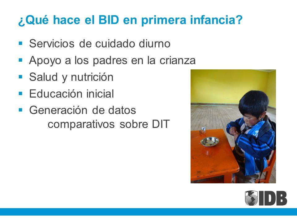 ¿Qué hace el BID en primera infancia? Servicios de cuidado diurno Apoyo a los padres en la crianza Salud y nutrición Educación inicial Generación de d