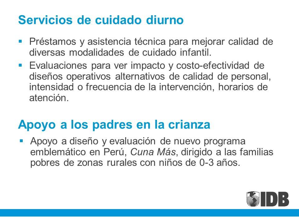 Servicios de cuidado diurno Préstamos y asistencia técnica para mejorar calidad de diversas modalidades de cuidado infantil. Evaluaciones para ver imp